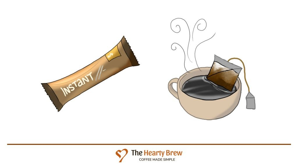 drawing of instant coffee sachet brew methods