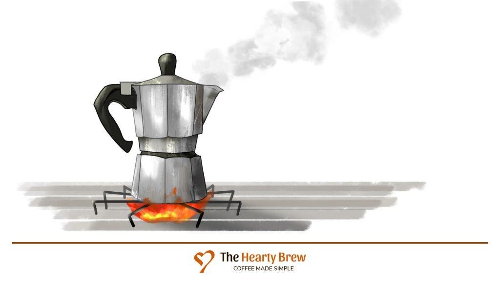 drawing of a Moka Pot brew method