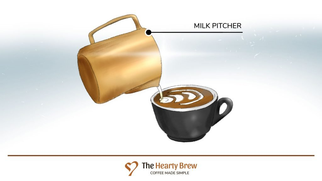 drawing of a milk pitcher pouring latte art into a cup of coffee