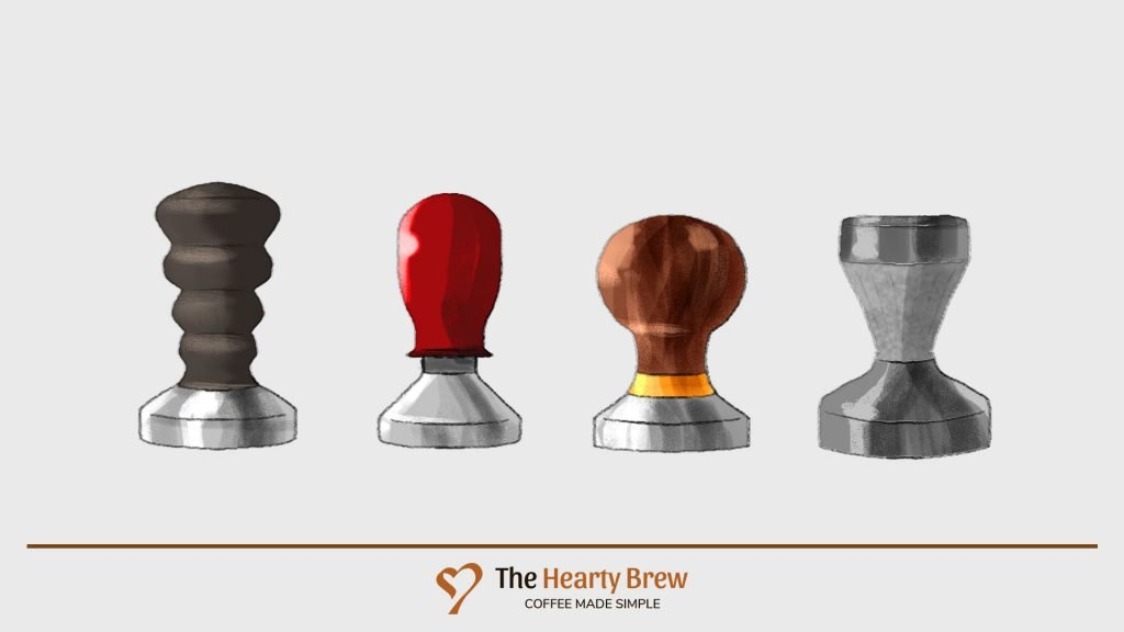various types of tampers - wooden handle, round top, symmetrical top and calibrated type