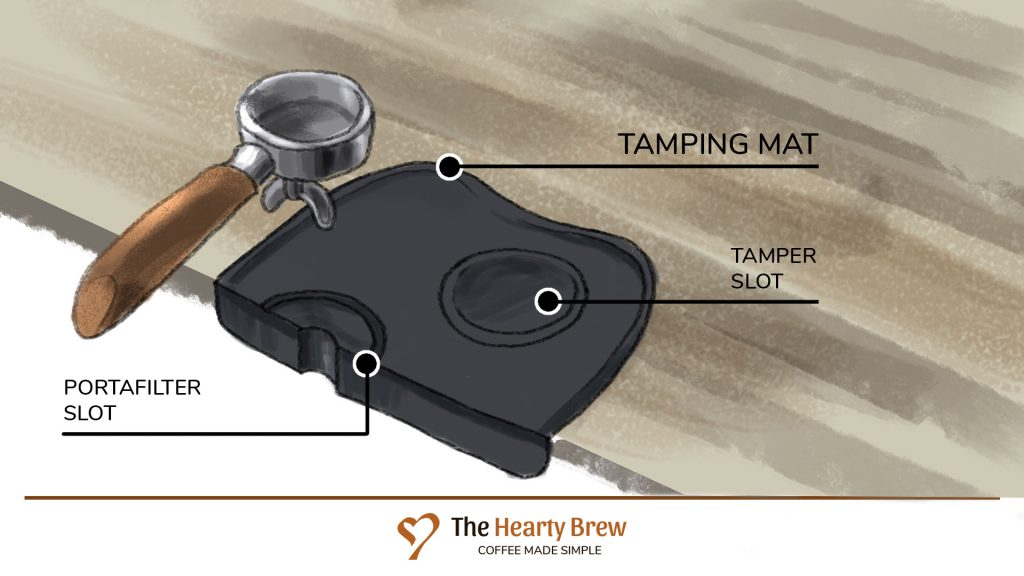 drawing of a tamping mat with a portafilter above it