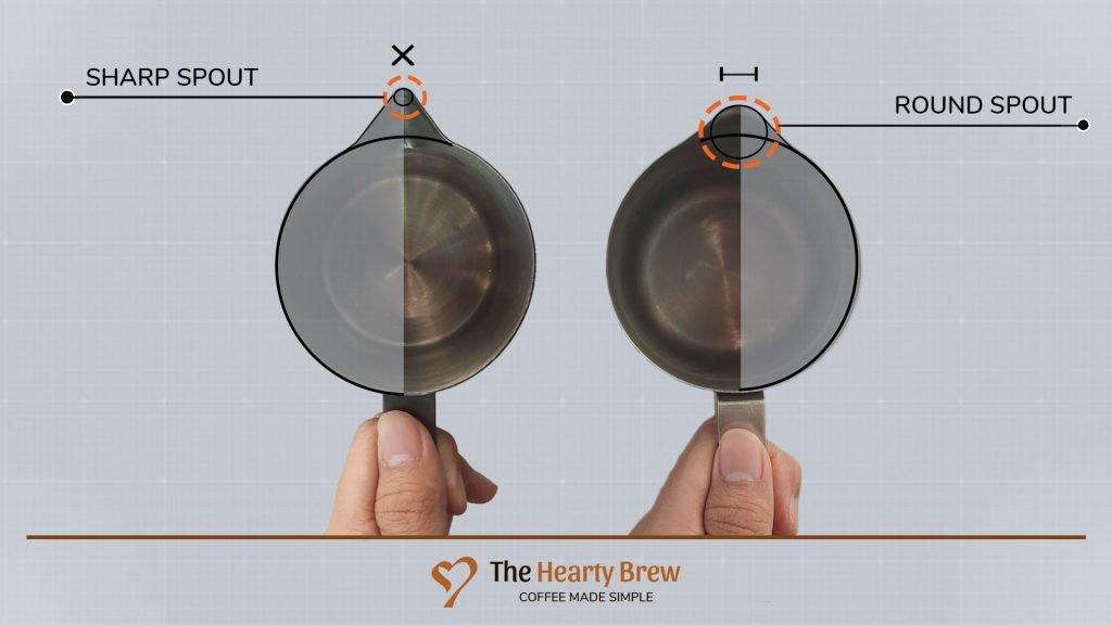 round vs sharp spout milk pitcher