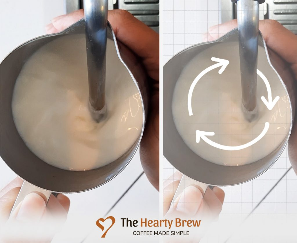 diagram showing how milk spins during steaming